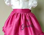 Girls custom silk dupioni dress with peter pan collar and band trimmed sleeves. Free matching bow. Two colors of your choice.