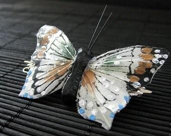 White Butterfly Barrette. Butterfly Hair Clip. Amber and White Feather Butterfly Barrette. Handmade Hair Clip.