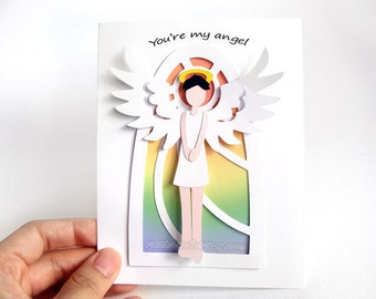 You Are My Angel Card, I Love You, Anniversary Card, Thank You, Personalized Name, Custom Message, Valentines Day, Paper Cut Card