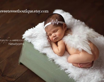 Newborn Angel Wings READY TO SHIP Sweet Celestial Enchantment Wings And Headband Set Newborn Photo Prop
