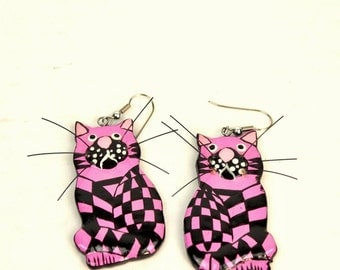 vintage checkered cat earrings // hand painted