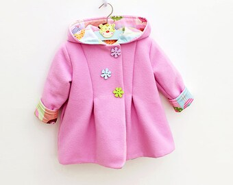 SWEETIE Hoodie Girl Baby Girl Jacket pattern Pdf sewing pattern, Reversible Hooded Coat Toddler birth up to 10 years Instant Download