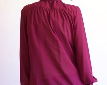 "Vintage Sheer Burgundy Wine Pussy Bow Blouse Long Sleeve Shirt - large 44"" bust"
