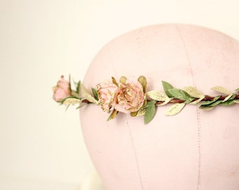 Pink Gold Rose Floral Crown, flower crown, Woodland, spring, Bridal flower crown, floral, Hair Accessories, Bridal Headpiece, wedding