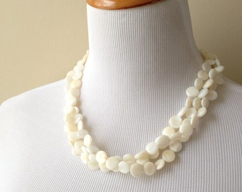 Natural Shell Necklace - Mother of Pearl Shell Triple Strand Necklace - Bridesmaids Necklace - Beach Collection