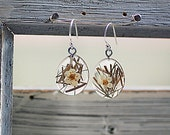 925 Sterling silver REAL GRASS and flower earrings - delicate glass lense with real grass and blossom. Spring/Summer jewelry for her.