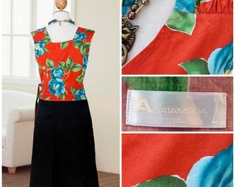 Vintage Elegant skirt + top , black satin skirt below the knee and wrap top , cache-coeur , red orange , 90s flowers sleeveless , size M , L