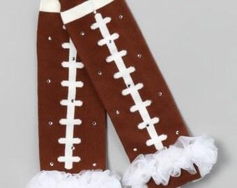Football Legwarmers with White Tutu and Rhinestones newborn baby girl rhinestone leg warmers tween arm warmers sports clothing