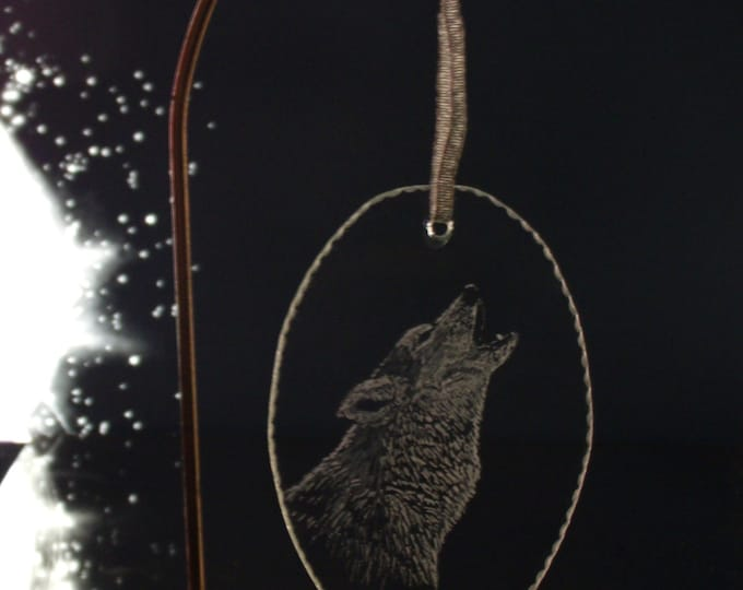 tree ornament Holiday howling wolf christmas ornament Personalized Christmas ornaments decoration glass