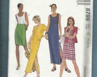 McCalls 8799 Scoop Neckline Dresses with Raised Waist & Side Seam Buttons Short Sleeve Cardigan Jacket too  Size 10-12-14 UNCUT