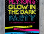 "GLOW in the DARK Party Invitation for Birthday - Black Light Party - Halloween - Personalized - 7""x5"" - Print Your Own - DIY"