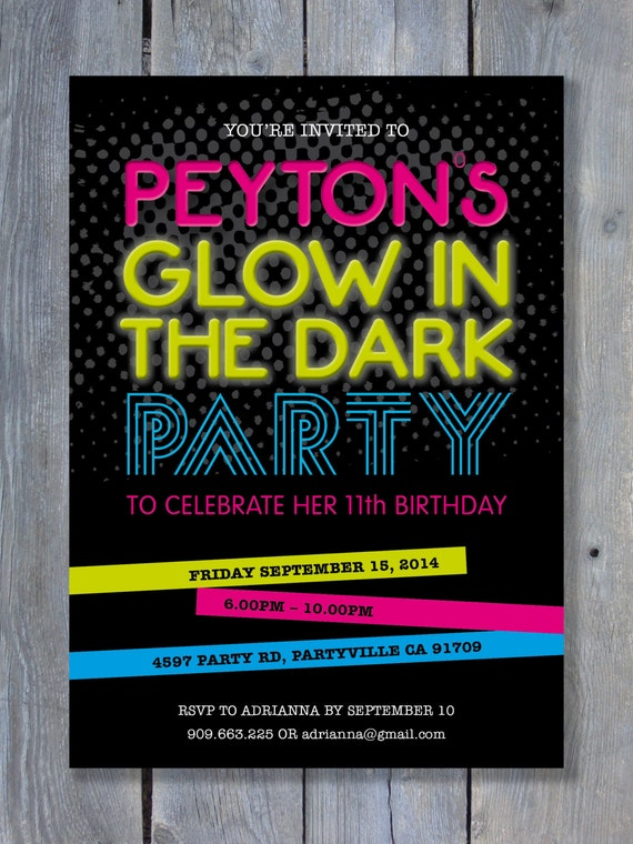 GLOW in the DARK Party Invitation for Birthday Black Light – Glow in the Dark Party Invitation Ideas