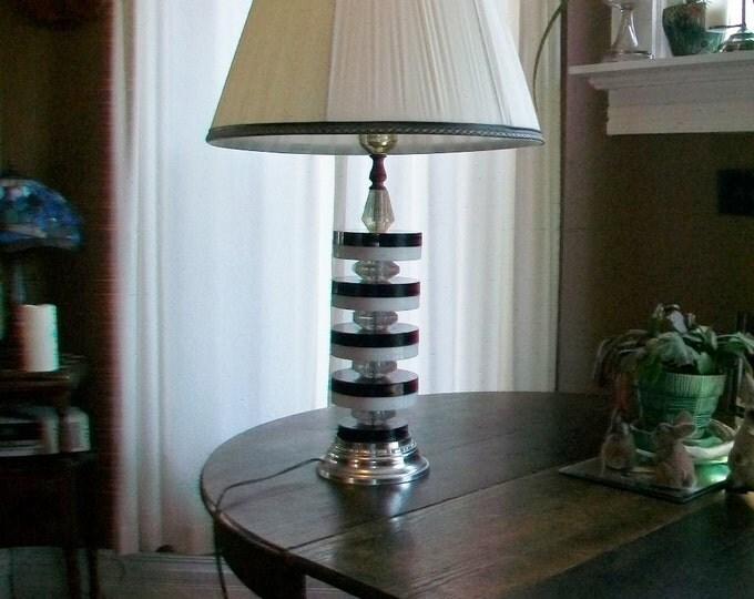 1960s Lamp Lucite Black and White Discs Retro Mod Vintage