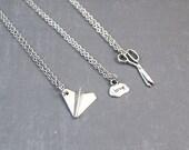 Rock Paper Scissors Necklace - Friendship Pendant - Best Friend Jewelry - 3 Way Friendship - Best Friend Gift