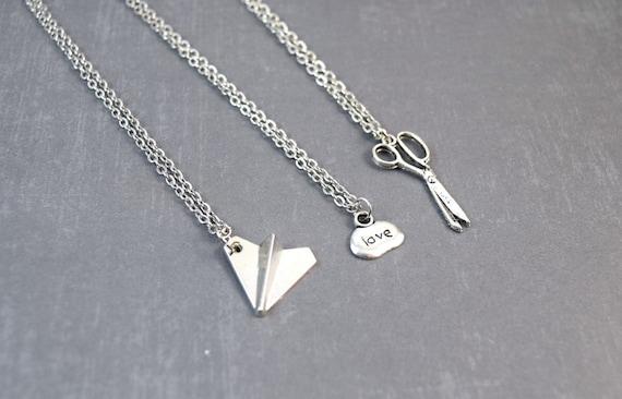 rock paper scissors necklace friendship pendant best