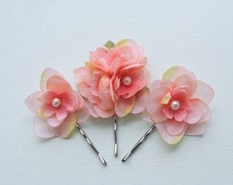 SALE - Coral Pink Flower Hair Clips, Tropical Beach Wedding Bridal Hair Accessories, Flower Hair Pins Coral Wedding Flowers Bridesmaids Clip