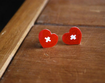 Nurse Heart Earrings -- Studs, Nurse Earrings, Red Heart Studs, Medical