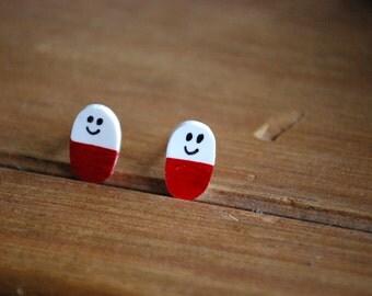 Happy Pill Earrings -- Studs, Nurse Earrings, Rx Earrings, Pharmacist Jewelry