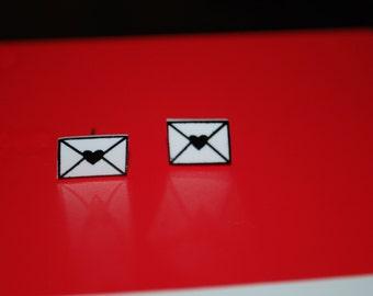 Love Letter Envelope Earrings -- Studs, Witty Earrings, Love Letter Jewelry