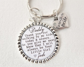 FATHER of the BRIDE Personalized Dad Keychain Dad Quote Men accessory Daddy's Little Girl, SON, Wedding Keychain, Daughter, Gift Fathers Day