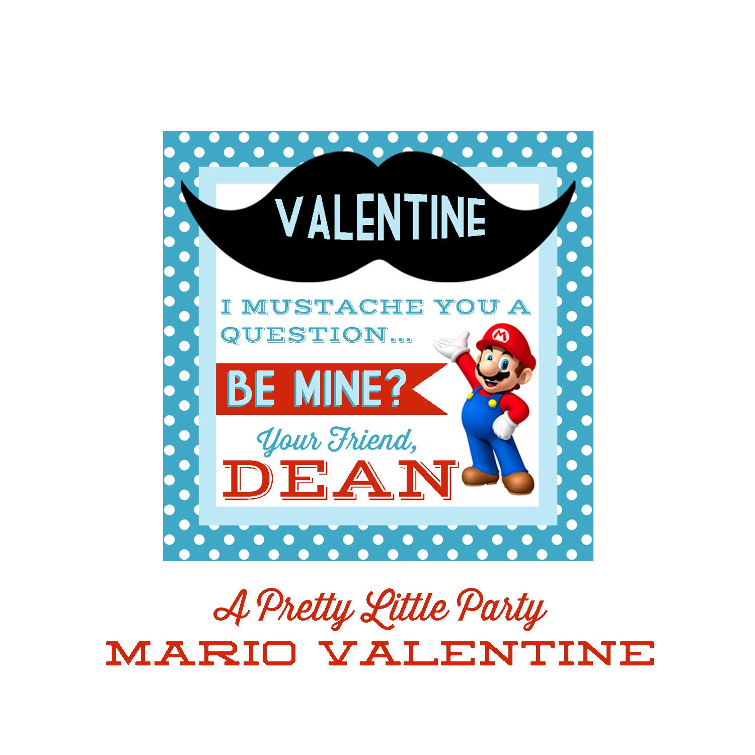 Mario Valentines - Customized Mario Valentine - Party Supplies