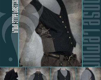 Mens Stripy Brocade and Cotton Twill Waistcoat by Loose Lemur Clothing