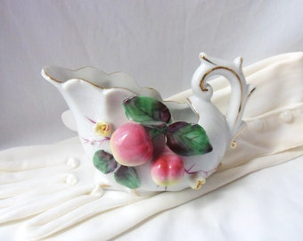 Cream Pitcher with Applied Apples, Victorian Style Sauce Pitcher, Ornate Applied Cherries Pitcher