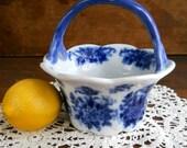 Vintage Porcelain Flow Blue Bridesmaid Potpourri Basket