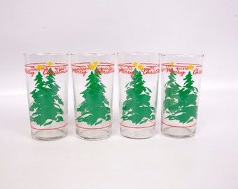 Vintage Christmas Tree Tumblers Merry Christmas Holiday Glassware Barware Entertaining Set of 4