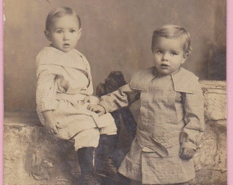 """Ca. 1909 """"Two Small Children"""" Real Photo Postcard - 594"""