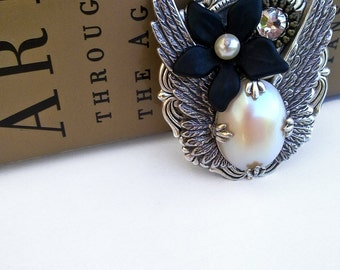 Gothic Wings Pendant Necklace Swarovski Black Flower Pearl Victorian Gothic Jewelry
