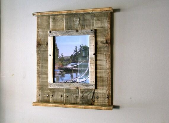 Wood Frame Bathroom Mirror With Shelf