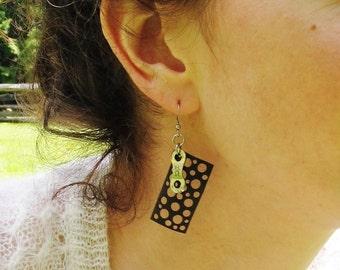 Innertube Bike Chain Earrings - Recycled Jewelry -  eco friendly gift - handmade - bicycle