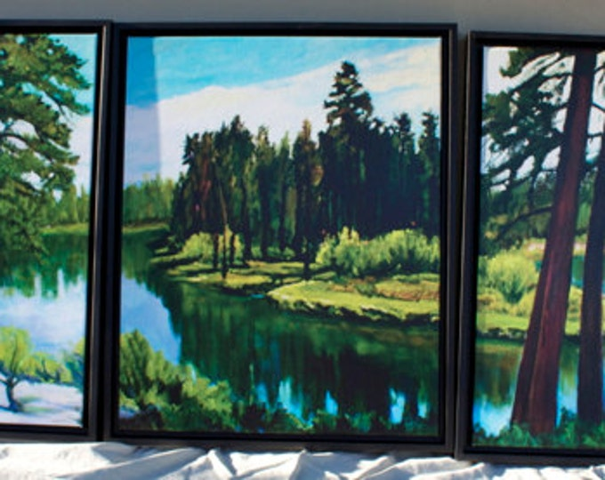 Deschutes River Painting Triptych Canvas Reproduction  Bull Bend Each Panel 20x16 inches Sherri McDowell Artist Free Shipping