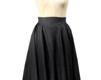 vintage 1950s moire circle skirt / Alice Stuart / black / high waist / rockabilly vlv / women's vintage skirt / size 16
