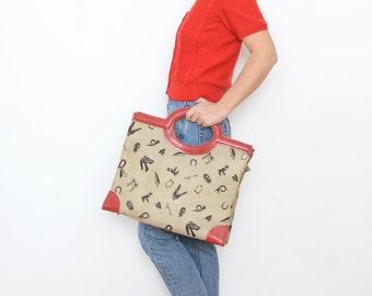 Vintage novelty red beige canvas 70s handbag / women riding shopping bag