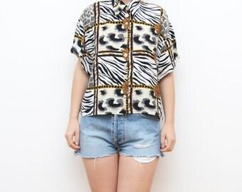 Vintage novelty animal print women shirt / golden chains short sleeves festival 90s zebra cheetah blouse crop top