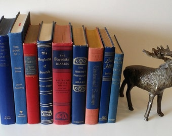 Vintage Book Collection in Red & Blue Book - Set of 9
