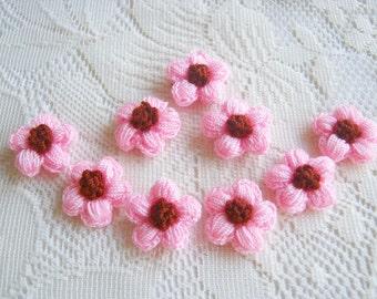 Crochet Daisy Pink Flower Fabric Applique Applique Crochet flower, pillow decoration, dress decoration, bag supply, wedding supply  50pcs.