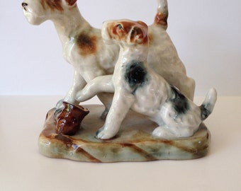 Vintage Porcelain Sculpture Japan Two Dogs with Boot