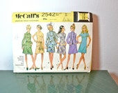 1970s Vintage McCalls Pattern 2542 Miss Petite Dress in Six Versions size 16 bust 38