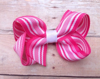 25% off SALE Pink & white hair bow - striped hair bow, pink boutique bow, pink hair bows, girls hair bows, girls bows, toddler bows