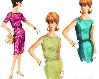 "1961 Mad Men Princess Seam Sheath Dress, Bateau Neckline, Sleeveless/Short Sleeves, Use For Color Blocking, McCall's 6181, Sz 14,  Bust 34"""