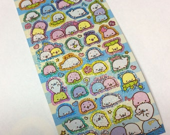 Kawaii Japan Sticker Sheet Assort: San-x Holographic Mamegoma Munching Beans Edamame R