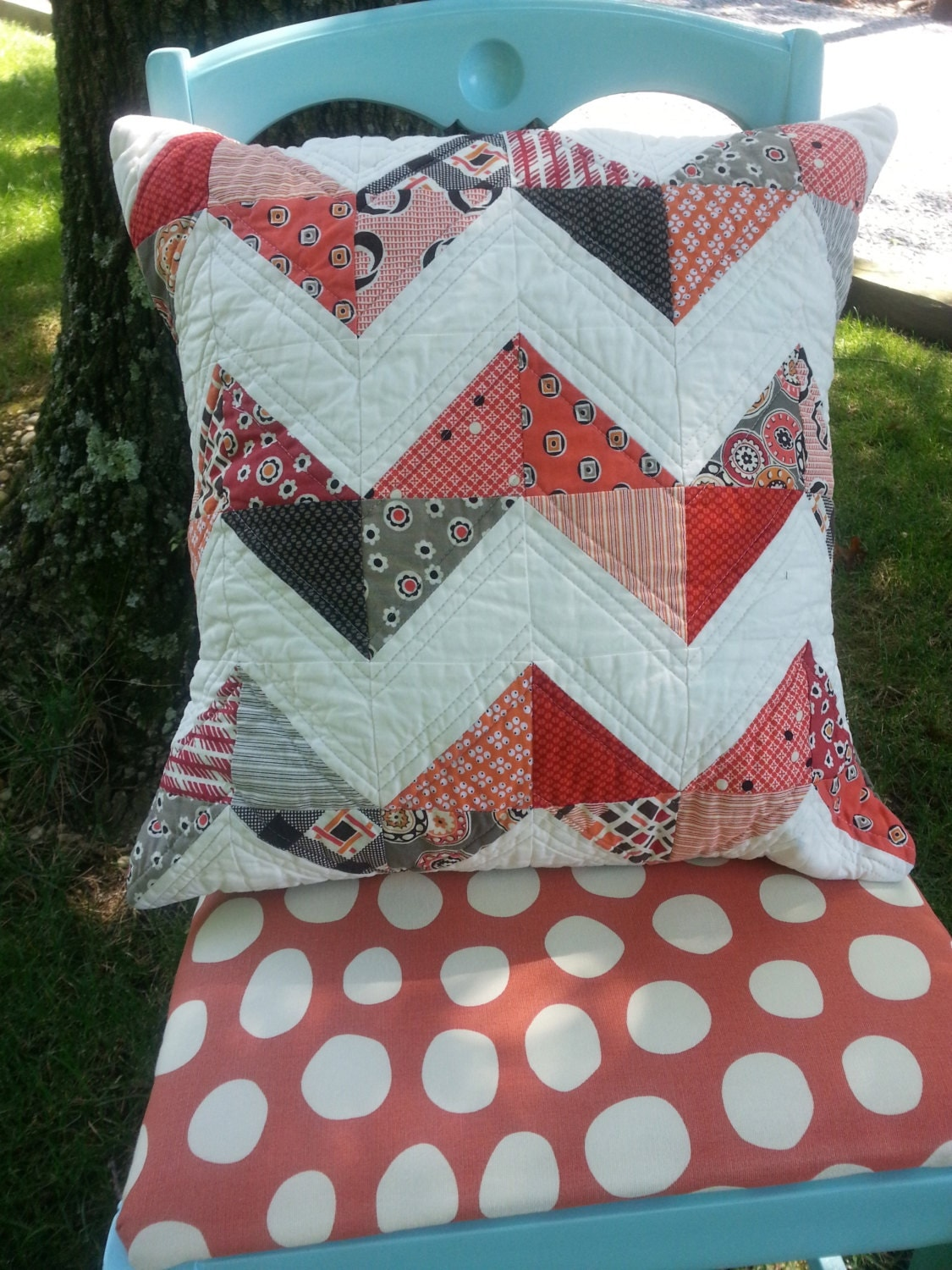 Modern Quilted Pillow Covers : Modern chevron quilted pillow cover. Free shipping in by Kathy512