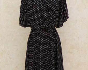 Vintage 70s - Polka Dot - Black and White - Mid Length Dress - 1970s Vintage Dress