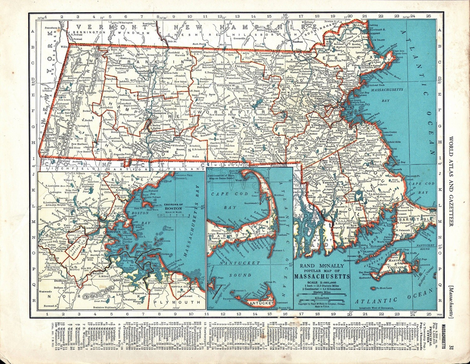 This is an image of Smart Printable Map of Massachusetts