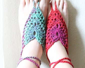 Hand Crocheted Color Burst Bohemian Barefoot Sandals