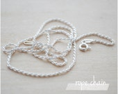"Sterling Silver Chain - Plain Chain Necklace - 16"" or 18"" Rope Chain Necklace"