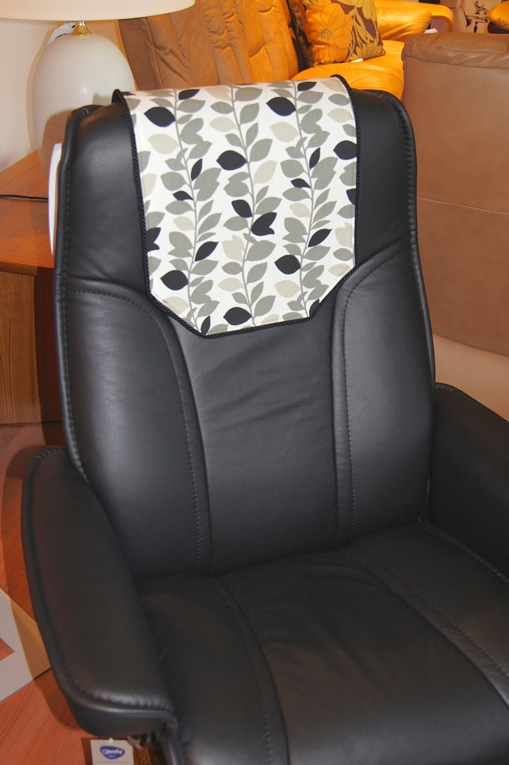recliner chair headrest cover black gray leaves by